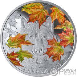 WILY WOLF Grauwolf Ahornblätter 2 Oz Silber Münze 30$ Canada 2019