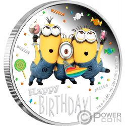 HAPPY BIRTHDAY Compleanno Minion Made 1 Oz Moneta Argento 2$ Niue 2019