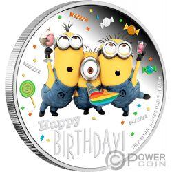 HAPPY BIRTHDAY Cumpleanos Minion Made 1 Oz Moneda Plata 2$ Niue 2019