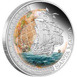 SANTA MARIA Nave Ship Moneta Argento 1$ Tuvalu 2011