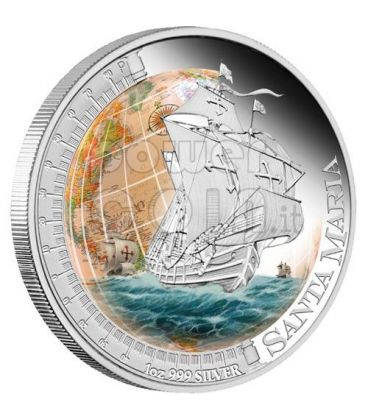 SANTA MARIA Ships That Changed The World Silver Coin 1$ Tuvalu 2011