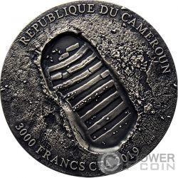 APOLLO 11 MOON Luna 50 Aniversario UFO 3 Oz Moneda Plata 3000 Francos Cameroon 2019