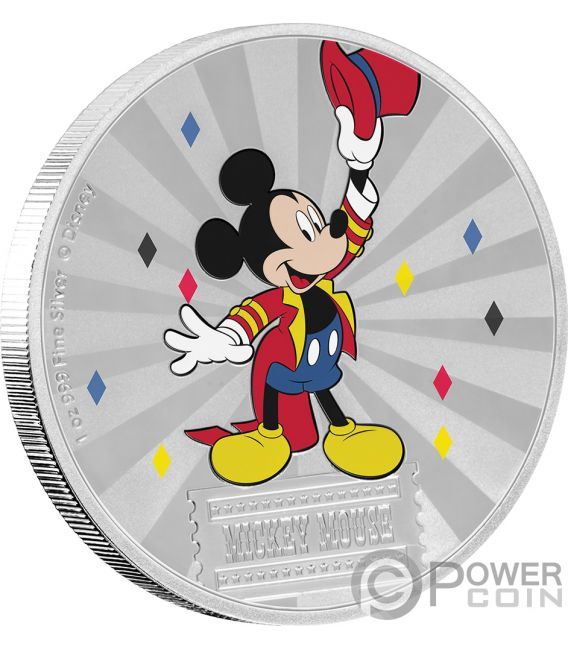 MICKEY MOUSE Friends Carnival Disney 1 Oz Silver Coin 2$ Niue 2019
