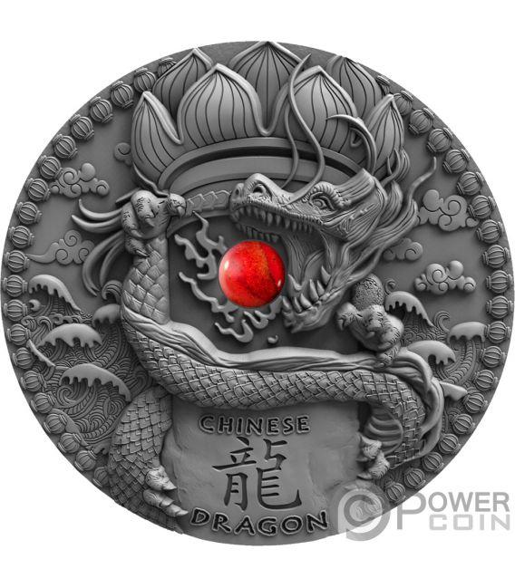 CHINESE DRAGON Drago Coral Dragons 2 Oz Moneta Argento 2$ Niue 2018