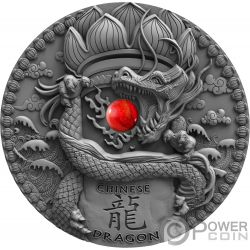 CHINESE DRAGON Coral Dragons 2 Oz Moneda Plata 2$ Niue 2018