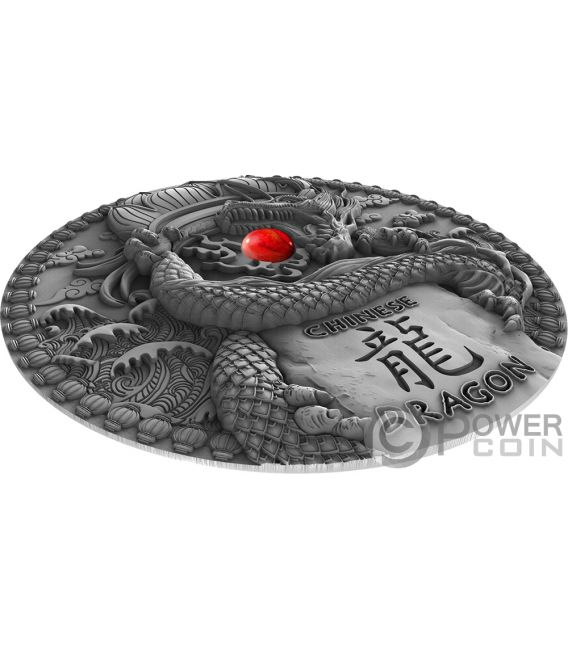 CHINESE DRAGON Coral Dragons 2 Oz Silver Coin 2$ Niue 2018