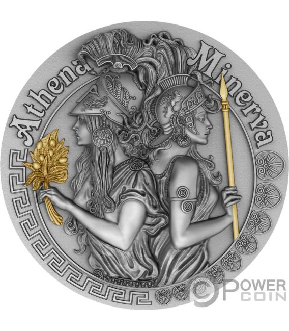 ATHENA AND MINERVA Strong and Beautiful Goddesses 2 Oz Silver Coin 5$ Niue 2019