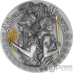 ATHENA AND MINERVA Strong and Beautiful Goddesses 2 Oz Silber Münze 5$ Niue 2019