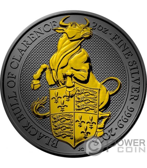 BLACK BULL QUEEN BEASTS Golden Ruthenium 2 Oz Silver Coin 5£ United Kingdom 2018