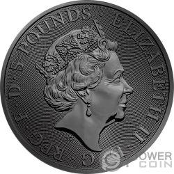 BLACK BULL QUEEN BEASTS Golden Ruthenium 2 Oz Moneda Plata 5£ United Kingdom 2018