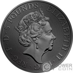 BLACK BULL QUEEN BEASTS Golden Ruthenium 2 Oz Серебро Монета 5£ Великобритания 2018