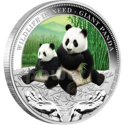 GIANT PANDA Wildlife In Need Silver Coin 1$ Tuvalu 2011