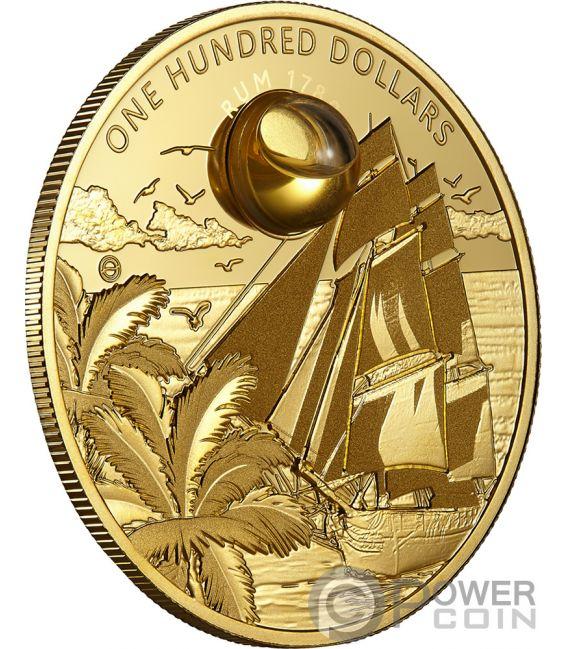 RUM Harewood 1780 Oldest Spirits 2 Oz Moneta Oro 100$ Barbados 2018