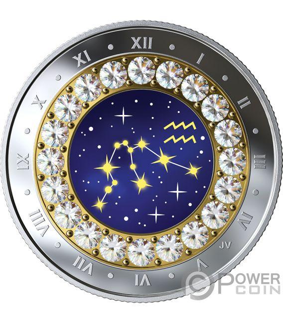 AQUARIUS Acquario Zodiac Swarovski Crystal Moneta Argento 5$ Canada 2019
