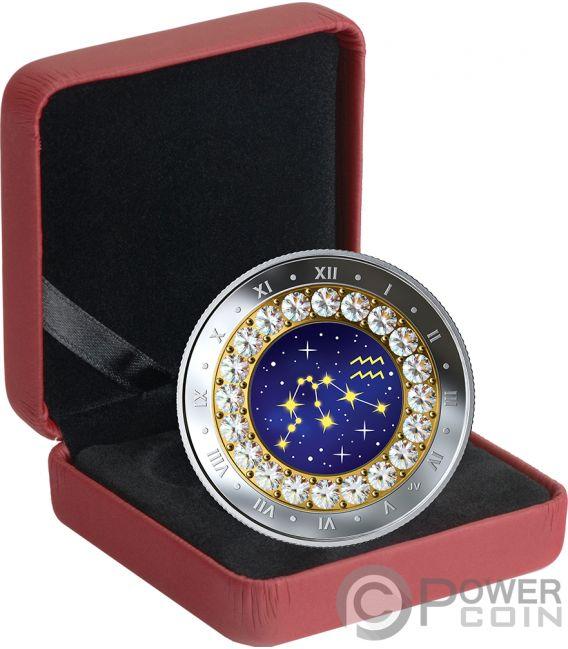 AQUARIUS Zodiac Swarovski Crystal Silver Coin 5$ Canada 2019