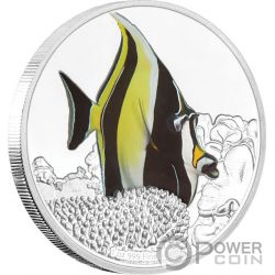MOORISH IDOL Halfterfisch Reef Fish 1 Oz Silber Münze 2$ Niue 2019