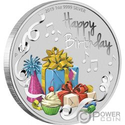 HAPPY BIRTHDAY Cumpleanos 1 Oz Moneda Plata 1$ Australia 2019