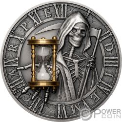CARPE DIEM Grim Reaper Hourglass 2 Oz Серебро Монета 5$ Ниуэ 2018