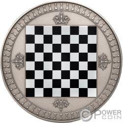 CHESS Chessboard Board Game 2 Oz Серебро Монета 5$ Ниуэ 2018