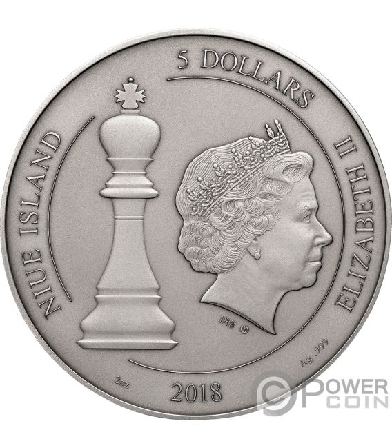 CHESS Chessboard Board Game 2 Oz Silver Coin 5$ Niue 2018
