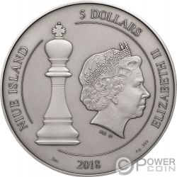 CHESS Ajedrez Tablero Juego 2 Oz Moneda Plata 5$ Niue 2018