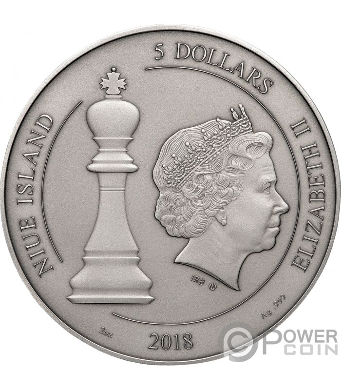 Chess Chessboard Board Game 2 Oz Silver Coin 5 Niue 2018