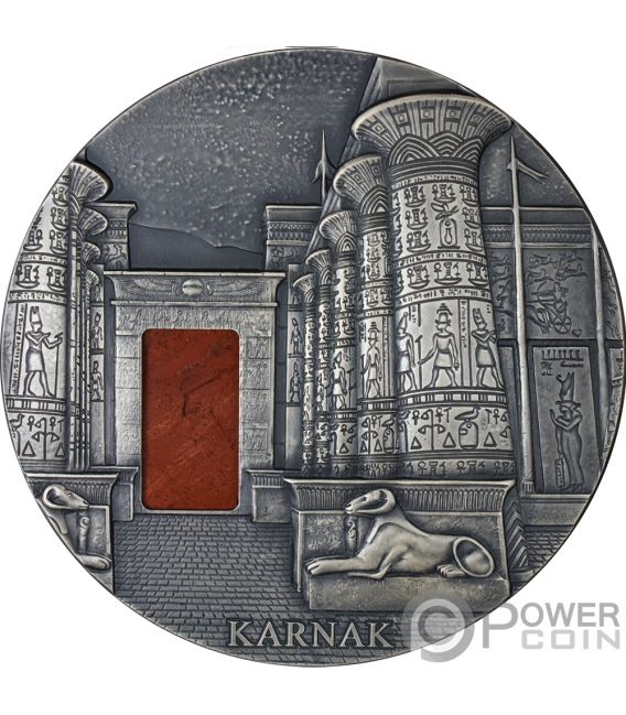 KARNAK Egyptian Temple Jaspe 1 Kg Kilo Moneda Plata 10000 Francos Chad 2018