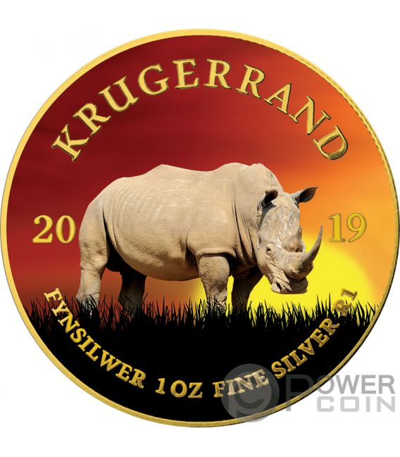 RHINO Krugerrand Big Five 1 Oz Silver Coin 1 Rand South Africa 2019