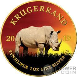 RHINO Rinoceronte Krugerrand Big Five 1 Oz Moneta Argento 1 Rand South Africa 2019