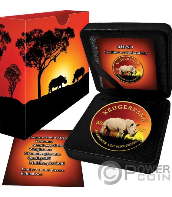 RHINO Nashorn Krugerrand Big Five 1 Oz Silber Münze 1 Rand South Africa 2019