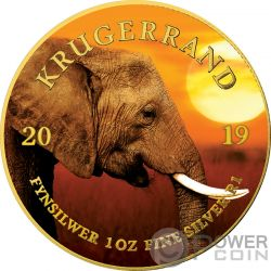 ELEPHANT Elefante Krugerrand Big Five 1 Oz Moneda Plata 1 Rand South Africa 2019