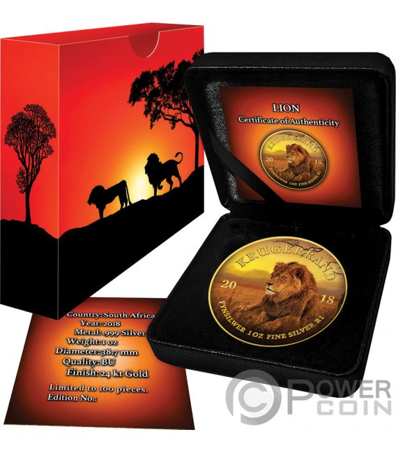 LION Leone Krugerrand Big Five 1 Oz Moneta Argento 1 Rand South Africa 2019