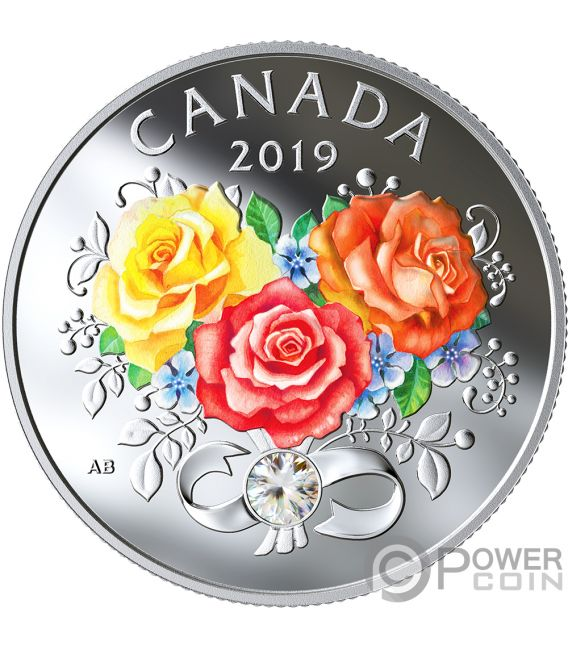 CELEBRATION OF LOVE Roses Silver Coin 3$ Canada 2019