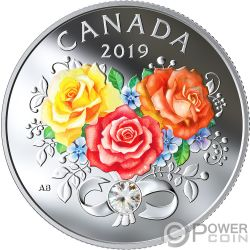 CELEBRATION OF LOVE Rosas Amor Moneda Plata 3$ Canada 2019