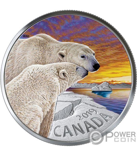POLAR BEARS Oso Fauna 1 Oz Moneda Plata 20$ Canada 2019