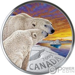 POLAR BEARS Eisbär Mother and Cub 1 Oz Silber Münze 20$ Canada 2019
