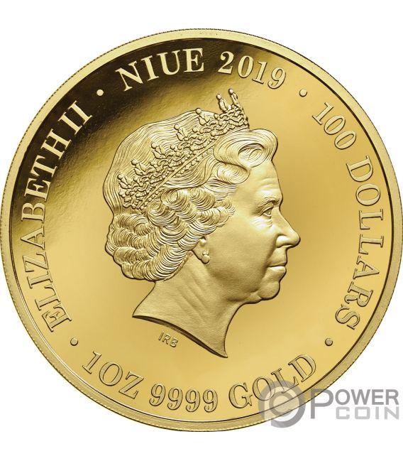 PLATYPUS Ornitorinco Australia at Night 1 Oz Moneta Oro 100$ Niue 2019