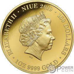 PLATYPUS Ornitorrinco Australia at Night 1 Oz Moneda Oro 100$ Niue 2019