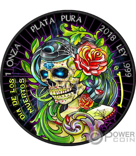 DIA DE LOS MUERTOS 2 Day of the Dead Libertad 1 Oz Silver Coin Mexico 2018