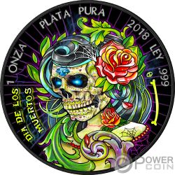 DIA DE LOS MUERTOS 2 Giorno dei Morti Liberta Libertad 1 Oz Moneta Argento Mexico 2018