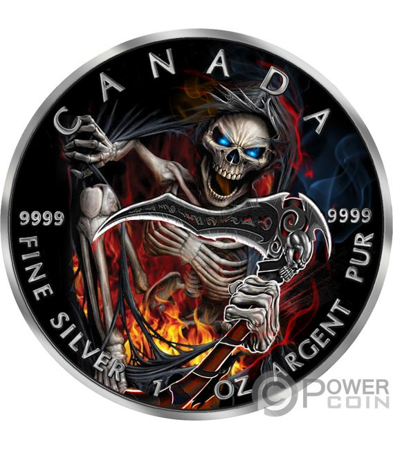 GRIM REAPER Death Maple Leaf Armageddon III 1 Oz Silver Coin 5$ Canada 2018
