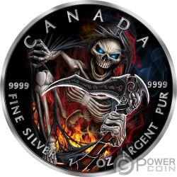 GRIM REAPER Muerte Maple Leaf Armageddon III 1 Oz Moneda Plata 5$ Canada 2018