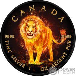 LION Leon Burning Animals 1 Oz Moneda Plata 5$ Canada 2018
