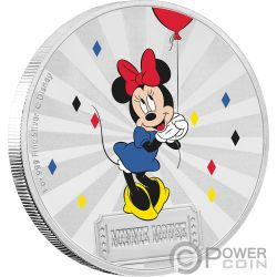 MINNIE MOUSE Friends Carnival Disney 1 Oz Moneda Plata 2$ Niue 2019