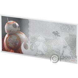 BB8 Star Wars Force Awakens Foil Серебро Note 1$ Ниуэ 2019