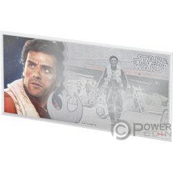 POE DAMERON Star Wars Force Awakens Foil Серебро Note 1$ Ниуэ 2019