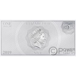 POE DAMERON Star Wars Erwachen Macht Foile Silber Note 1$ Niue 2019