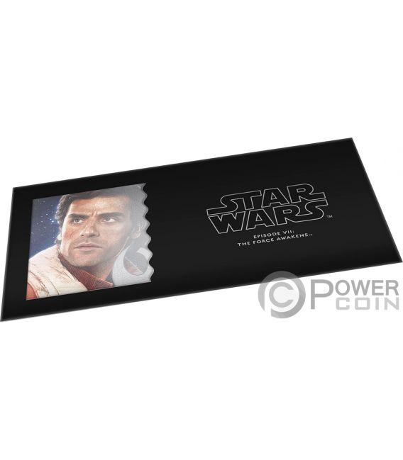 POE DAMERON Star Wars Force Awakens Foil Silver Note 1$ Niue 2019