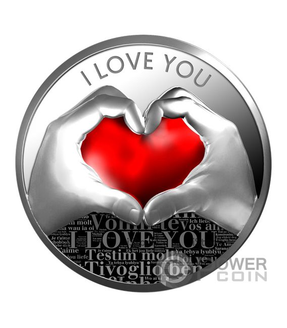 LOVE YOU Heart Silver Coin 500 Francs Cameroon 2019