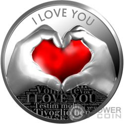 LOVE YOU Corazon Amor Moneda Plata 500 Francos Cameroon 2019